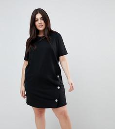 Платье-футболка мини с кнопками ASOS CURVE - Черный