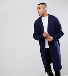 Темно-синяя длинная вязаная куртка ASOS TALL - Темно-синий
