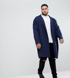 Темно-синее длинное легкое пальто ASOS - Темно-синий