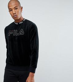 Велюровый свитшот с вышитым логотипом Fila Black Line - Черный