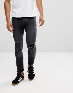 Байкерские джинсы скинни с рваными коленями Religion - Черный