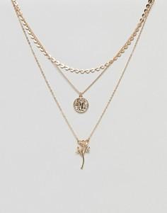 Многорядное ожерелье в винтажном стиле с подвесками в виде монеты и розы ASOS - Золотой