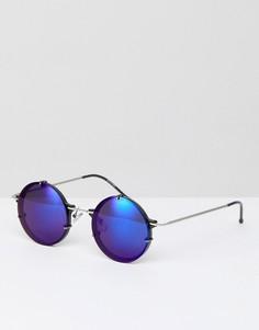 Круглые солнцезащитные очки с синими зеркальными стеклами Spitfire Infinity - Серебряный