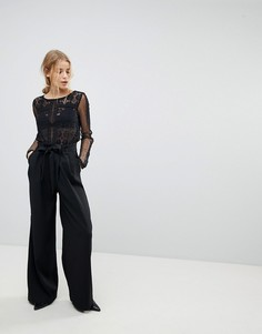 Черные широкие брюки с поясом Pimkie - Черный