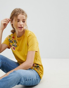 Футболка горчичного цвета с вышивкой Pimkie - Желтый