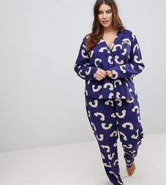 Пижамный комплект из 100% вискозного волокна ASOS CURVE - Темно-синий