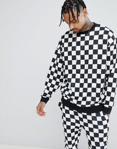 Oversize-свитшот в шахматную клетку ASOS - Черный