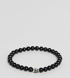 Черный браслет из бусин с серебряной подвеской Simon Carter - Черный