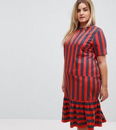 Платье-футболка миди с полосками ASOS CURVE - Мульти
