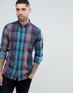 Синяя облегающая рубашка в клетку PS Paul Smith - Синий