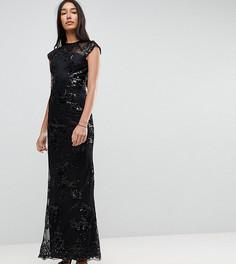 Платье макси с пайетками, кружевной вставкой и короткими рукавами Chi Chi London Tall - Черный