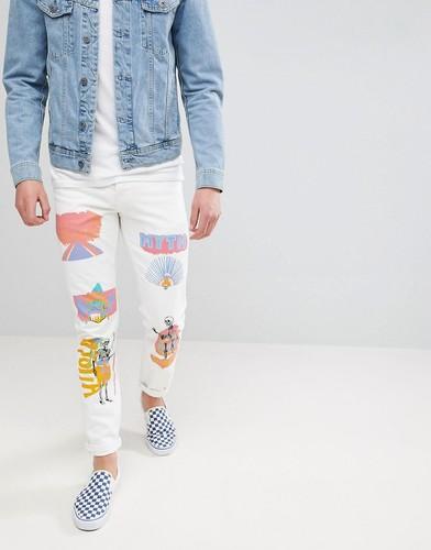 Светло-бежевые эластичные джинсы узкого кроя с принтом ASOS - Белый