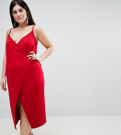 Облегающее платье миди с запахом ASOS CURVE - Красный