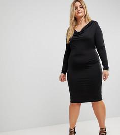 Облегающее платье со свободным воротом ASOS CURVE - Черный