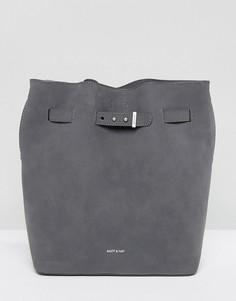 Серая сумка-мешок из искусственной замши Matt & Nat Lexi - Серый