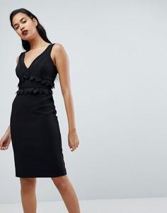 Платье-футляр с кружевом и вышивкой Forever New - Черный