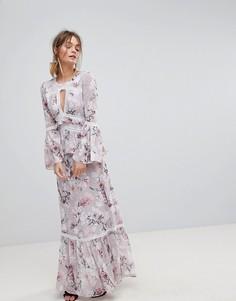 Платье макси с принтом и рукавами клеш Forever New - Мульти