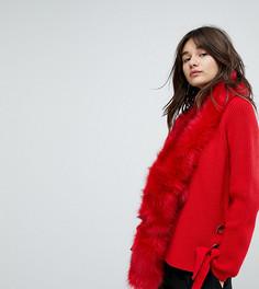 Ярко-красный шарф из искусственного меха E.L.K - Красный