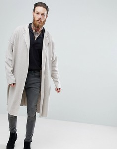 Длинная вязаная куртка ASOS - Бежевый