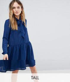 Короткое приталенное платье с бантом Y.A.S Tall - Синий