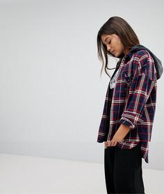 Рубашка в клетку с капюшоном Noisy May - Мульти