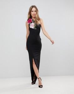 Платье макси на одно плечо с цветочным принтом Jessica Wright - Черный