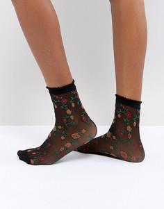 Полупрозрачные носки с цветочным принтом ASOS - Черный