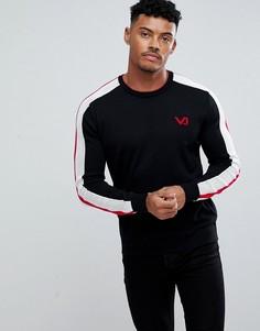 Черный джемпер с красными полосками на рукавах Versace Jeans - Черный