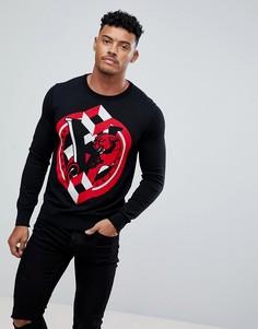 Черный джемпер с большим логотипом Versace Jeans - Черный