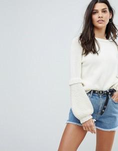 Джемпер с пышными рукавами Mih Jeans - Кремовый