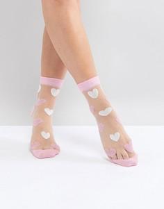 Прозрачные носки с сердечками ASOS Valentines - Розовый