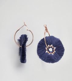Серьги-кольца с темно-синими кисточками Glamourous - Темно-синий Glamorous