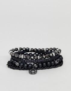 4 черных браслета с бусинами Icon Brand - Черный