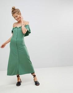 Сарафан миди на пуговицах с открытыми плечами ASOS - Зеленый