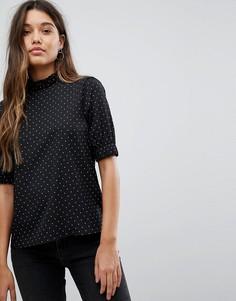 Блузка в горошек с высоким воротом Fashion Union - Черный