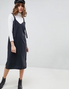 Платье-комбинация миди с пряжками ASOS - Серый