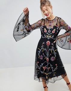 Сетчатое платье миди с вышивкой ASOS - Черный