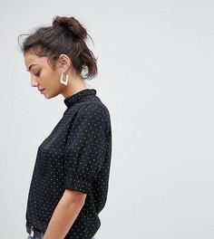 Блузка в горошек с высоким воротником Fashion Union Tall - Черный