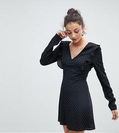 Чайное платье в горошек с завязкой на спине Fashion Union Tall - Черный
