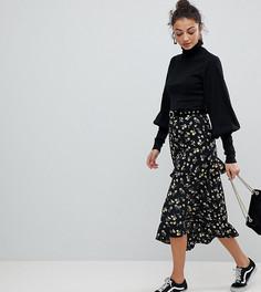 Юбка миди с асимметричными ярусными оборками и цветочным принтом Fashion Union Tall - Мульти