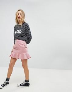 Вельветовая мини-юбка с оборкой на подоле Glamorous - Розовый