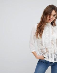 Блузка с кружевными вставками New Look - Кремовый