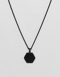 Черное матовое ожерелье с медальоном-шестигранником Chained & Able - Черный