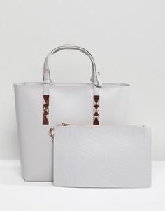 Структурированная кожаная сумка-тоут с ручками регулируемой длины Ted Baker - Серый