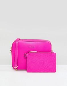Кожаная сумка с ремешком-цепочкой Ted Baker - Розовый