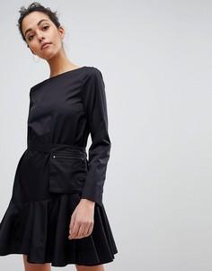 Платье с ремнем в стиле милитари Sportmax Code - Черный