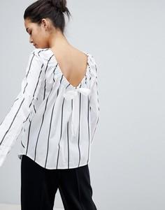 Рубашка в полоску с завязкой и сборкой Sportmax Code - Мульти