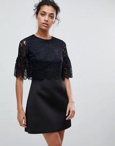Платье мини с кружевной отделкой ASOS - Черный