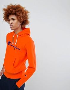 Худи оранжевого цвета с крупным логотипом Champion - Оранжевый