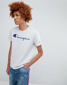 Серая футболка с большим логотипом Champion - Серый
